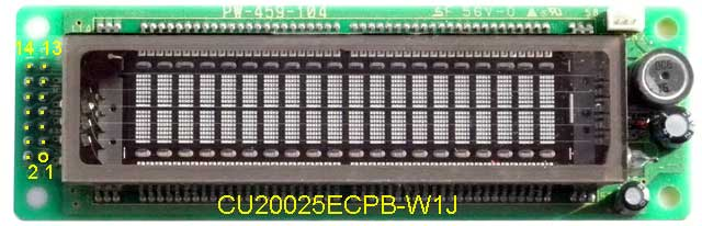 CU20025ECPB-W1J Noritake Itron VFD Vacuum Fluorescent Display, LCD Compatible Design (HD44780), parallel interface, 20x2.