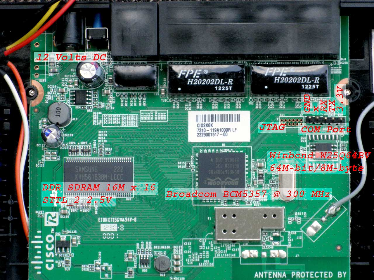 Board, Linksys E1200, with IC and Ports
