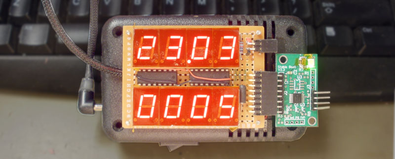 7 segment LED w/MSP430 and CD74HC273 (serial display).