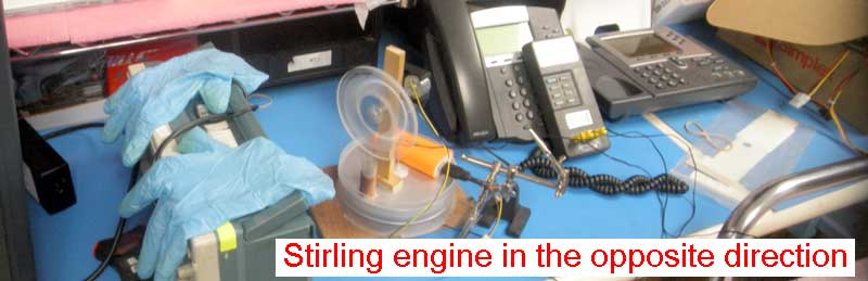 Stirling engine in the opposite direction
