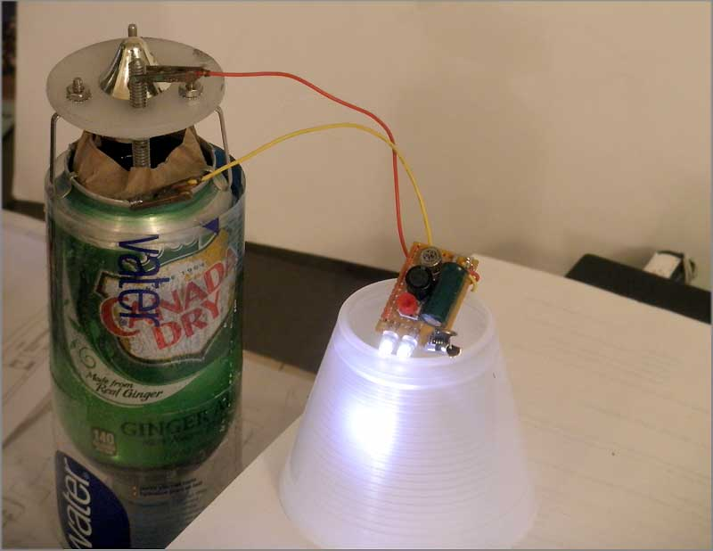 Soda Can Battery Light with DC-DC converter